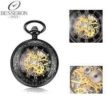 Мужская Античный Карманные Часы римские цифры Урожай Механический Скелет Карманные Часы С Цепочкой Подарок США Локальная доставка