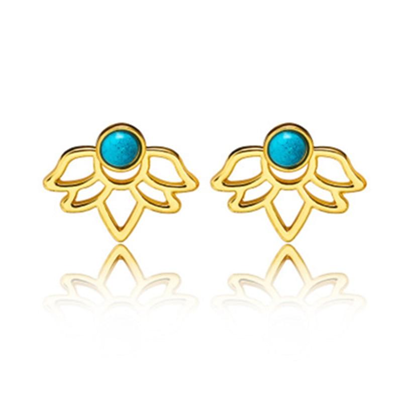 Docona Trendy natural stone earrings Gold Silver Color Alloy Spike Earrings Ear Jacket Clip Stud Earrings