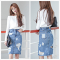 S-XXXL 2016 Summer /Autumn New Casual Fashion Slim Bodycon Ripped Washed Denim JeansPencil Skirt Hole Women Plus Size Blue