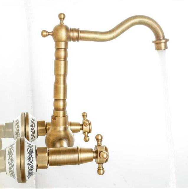 Free Shipping 2 Handle Wall Mounted Antique Brass Kitchen Faucet