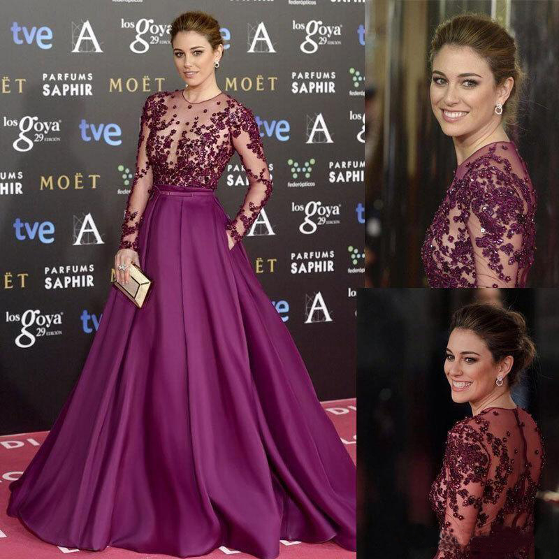 Burgundy Long Evening Dresses Beads Sheer Neck Long Sleeves Illusion Bodice Sequins Runaway Red Carpet Formal Prom Party Gowns