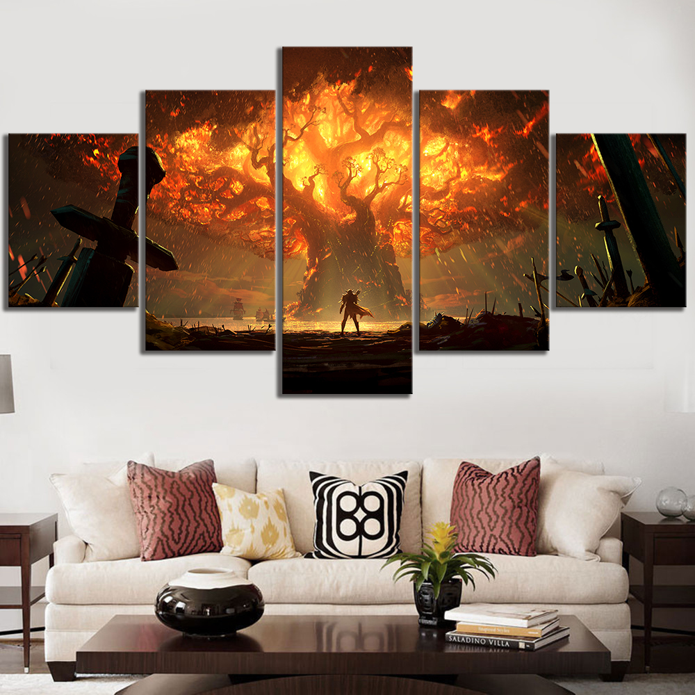 5 Piece HD Video Game World of Warcraft DOTA 2 Painting Poster Decorative Mural Art Room Wall Decor 1