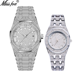 Image 2 - MISSFOX 18 K Gold Iced Out Lab Dimaond Luxe Merk Rvs Analoge Quartz Waterdicht minnaar Horloge Set