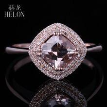 HELON SOLID 10K ROSE GOLD 6X6MM CUSHION 0.941CT MORGANITE ENGAGEMENT WEDDING NATUAL DIAMONDS GEMSTONE FINE RING WOMEN'S JEWELRY