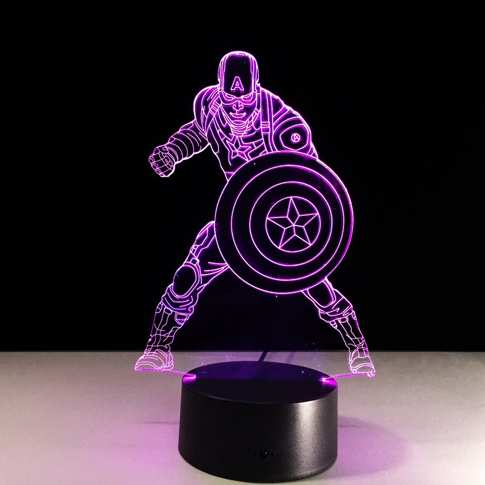 New Marvel Civil War Captain America 7 Color Changing Light 3D Illusion Bulbing Lamp Halloween Christmas Kids Gift Bedside Lamp free shipping 1piece new arrive marvel anti hero deadpool figure light handmade 3d bulbing illusion lamp led mood light for kid