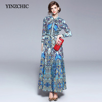 woman ethnic printed spring long dress turn down collor female party vintage maxi dress