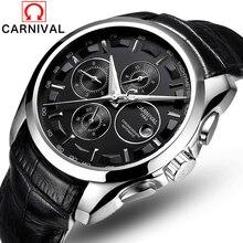 Relojes mecánicos automáticos de lujo para hombre, reloj con correa de cuero para carnaval, informal, de negocios, masculino