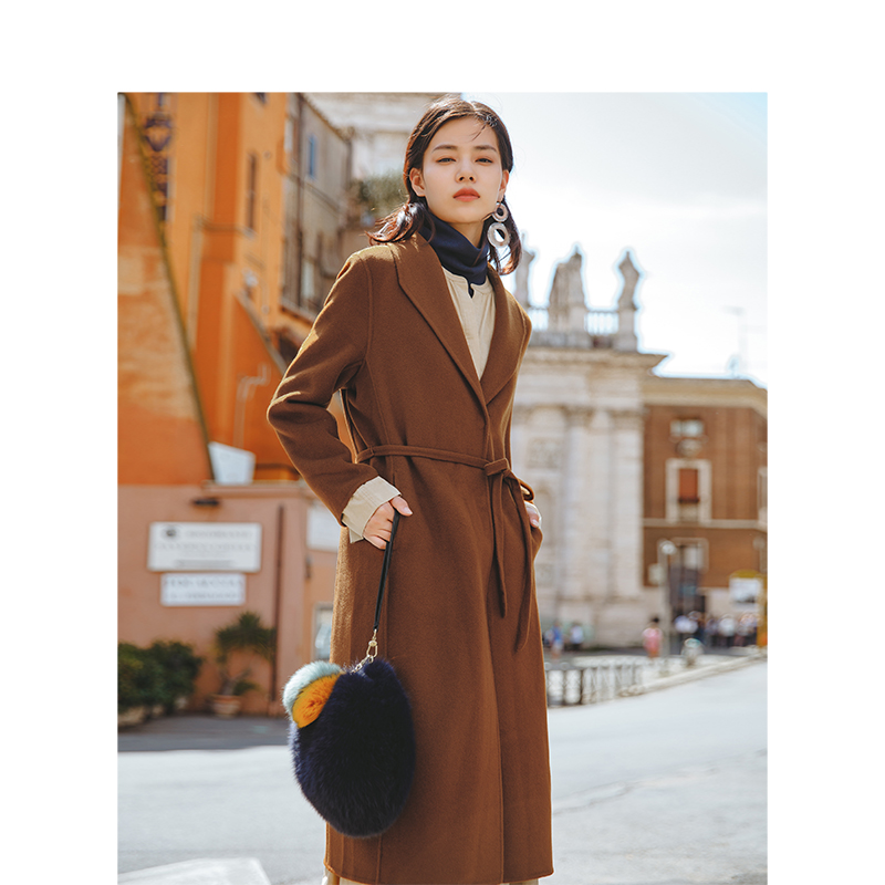 INMAN 2019 Spring Autumn Open Stitch Turn Down Collar Belt Women Comfortable Wool Coat