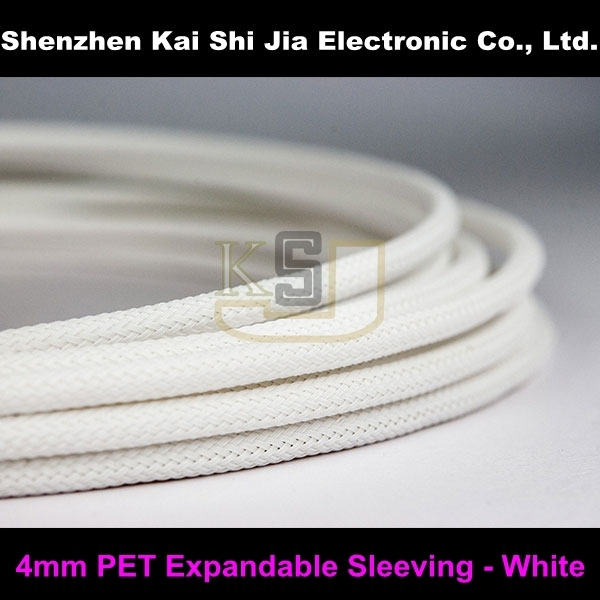 20 Meters Round High Density 4 mm White PET Braided Expandable Sleeving Wireharness Cable Sleeve