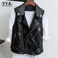 Korea Biker Jacket Retro Style Belted Casaco Feminino Waistcoat For Women Zipper Jackets Jaqueta De Couro Fashion Leisure Vests
