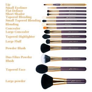 Image 4 - ג סאפ איפור מברשת סט סגול/זהב brochas maquillaje סינטטי שיער קוסמטי ערכת אבקת קרן סומק שפתונים 15pcs