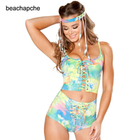 holographic crop top women 2 piece sets festival rave clothes wear outfits hologram tank top high waist hot shorts