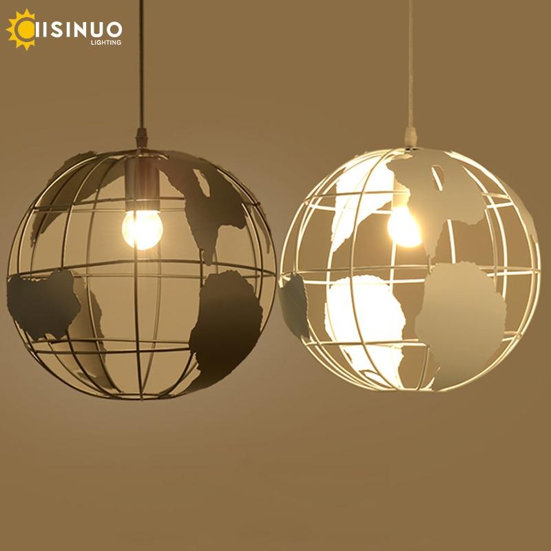Современный подвесной светильник в скандинавском стиле с шаром, карта мира, E27, лампа белого и черного цвета для гостиной, кафе, бара, лофт, винтажный светильник