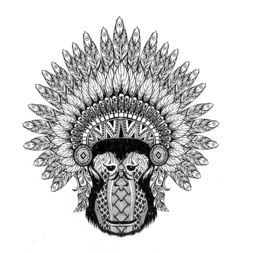 Indian Monkey  Waterproof Temporary tattoos Men  Animals Totem Fake Tattoo Stickers Tatouage Temporaire Femme Tatoos