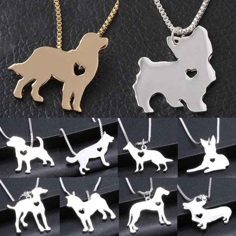 Metal Pet Dog Pendant Necklace Women Statement Cat Family Stroll Design Chain Cute Bulldog Men Silver Chain Necklace Jewelry