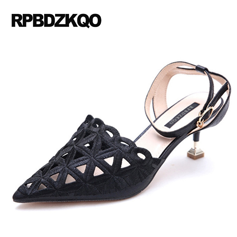 Black Ankle Strap Size 4 34 Pointed Toe High Heels Sandals Modern Small Shoes Sweet Pumps Thin 2017 Gold Slingback Women Pretty summer new pointed thick chunky high heels closed toe pumps with buckle ankle wraps sweet sandals women pink black gray 34 40