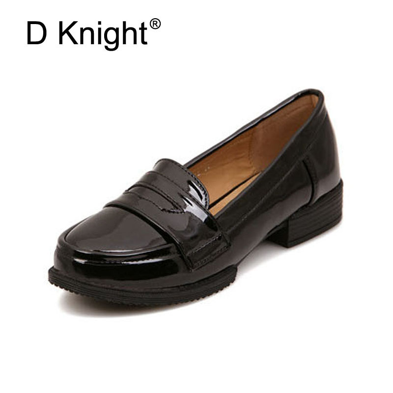 Ladies Casual Flat Loafers Shoes Fashion Patent Leather Round Toe Women Flats Size 34-43 Women's Flats New England Women Oxfords 2016 autumn fashion women full grain leather flat heel white shoes student bling round toe leather brand basic flats loafers