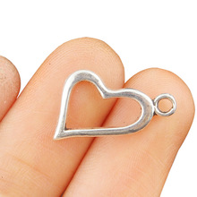 TJP 20pcs Antique Silver Tone Heart Charms Pendants Beads Hollow Open for DIY Bracelet Jewelry Making Findings 17x15mm