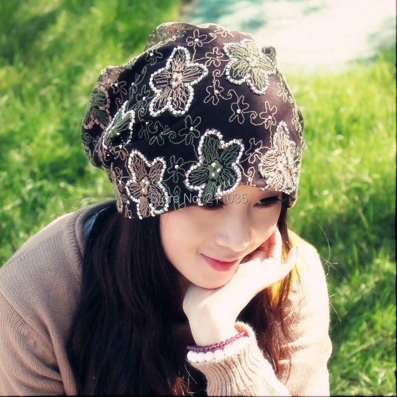 Wholesale Hot Sale female spring autumn plus size fashion sparkling diamond cap lace embroidered thin pocket Turban hat   A