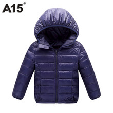 A15 Winter Jacket Boy Kid Light Duck Down Coat Children Hooded Warm Toddler Girl Jacket 2018 Spring Outwear Age 10 12 14 16 Year(China)