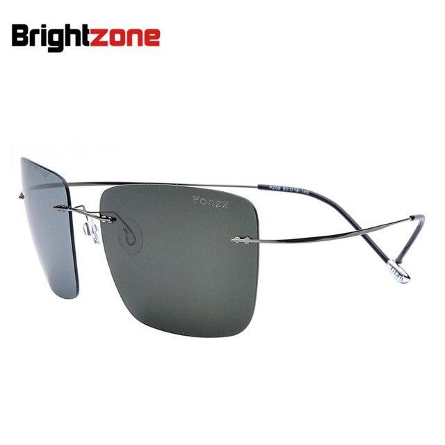 Отличное Качество Titanium Frame High Архивы Солнцезащитные Очки Без винта Квадратных Очки Человек Езды Автомобиля Поляризованные Зеркало Солнцезащитные Очки