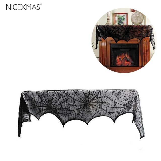 Halloween Decoration Black Lace Spiderweb Fireplace Mantle Scarf Cover Festive Party Supplies