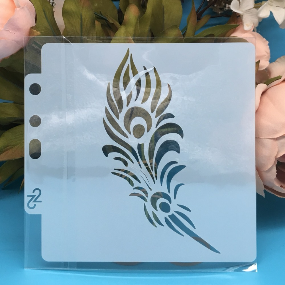 New 5.1inch Feather DIY Layering Stencils Wall Painting Scrapbook Coloring Embossing Album Decorative Card Template