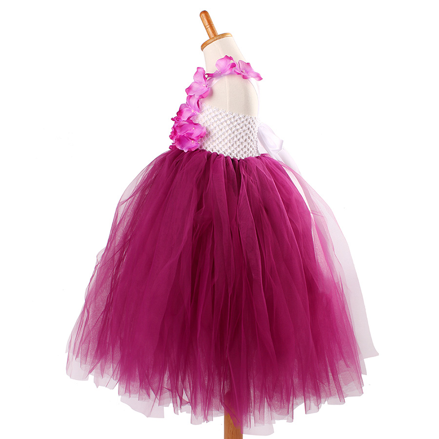 Girls Plum Flowers Wedding Tutu Dress with headband Children Summer Handmade Tulle Costume (2)