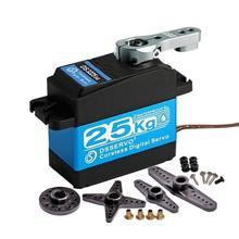 Servo Digital para coches de control remoto, dispositivo de Servo de 180 grados DS3225, resistente al agua, engranaje de acero inoxidable de alta velocidad, sin núcleo, de 25KG, para coches de radiocontrol a escala 270 y 1/8