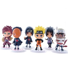 Free Shipping 6pcs Full Set 7cm Q Edition Naruto Anime Action Figures Collection PVC Figures Model toy Set Action Figure Toys