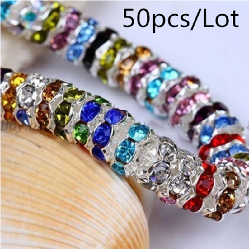 Wholesale 50pcs 6MM Metal Silver Plated Crystal Rhinestone Rondelle Spacer Beads 13 Colors For Choose DIY(China)