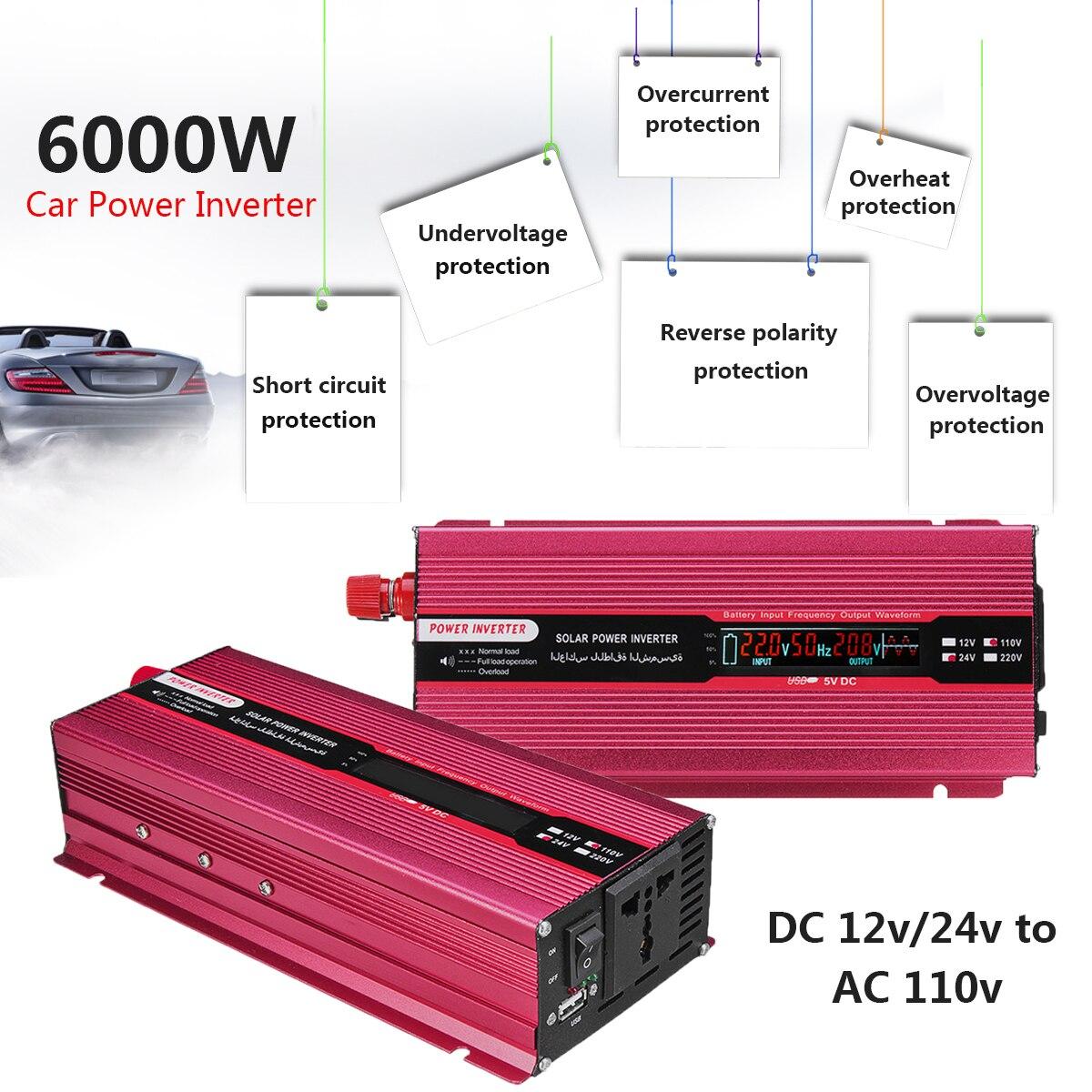 Пик 6000 Вт автомобиль солнечной Мощность инвертор 12/24 В к AC 220/110 В USB синуса конвертер волна эффективность Напряжение трансформатор Универ