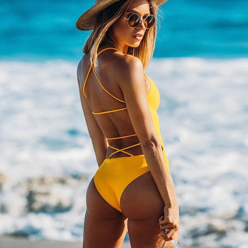 <font><b>2018</b></font> NEW <font><b>Sexy</b></font> One Piece <font><b>Women</b></font> Swimwear <font><b>Swimsuit</b></font> Solid Bodysuit Crochet Bandage Cut Out Beach Wear Bathing Suit Monokini <font><b>Swimsuit</b></font> image