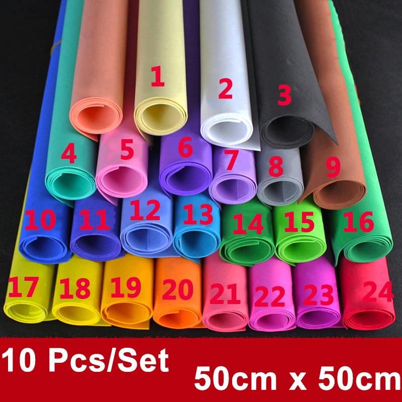 50x50cm Foamiran Sponge Paper 10 PCS Handmade Craft Paper EVA DIY Crafts Materials Cut Foam Paper Nursery Decoration Gift Childr