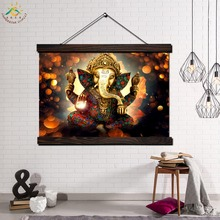 Ganesh Lord God Modern Wall Art Print Pop Picture And Poster Solid Wood Hanging Scroll Canvas Painting for Home Decor