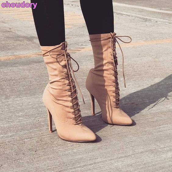 Young Ladies Beige Suede Pointed Toe Boots Lace-up Concise Mid-Calf Boots Luxurious Brand OL Lady Dress Shoes Stiletto Heels double buckle cross straps mid calf boots