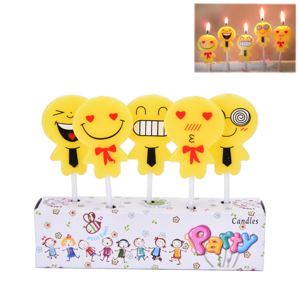 2017 Kawaii Emoji Personalized Edible Print Premium Cake Topper Frosting Candles 5 Pcs Set In Decorating Supplies From Home Garden On