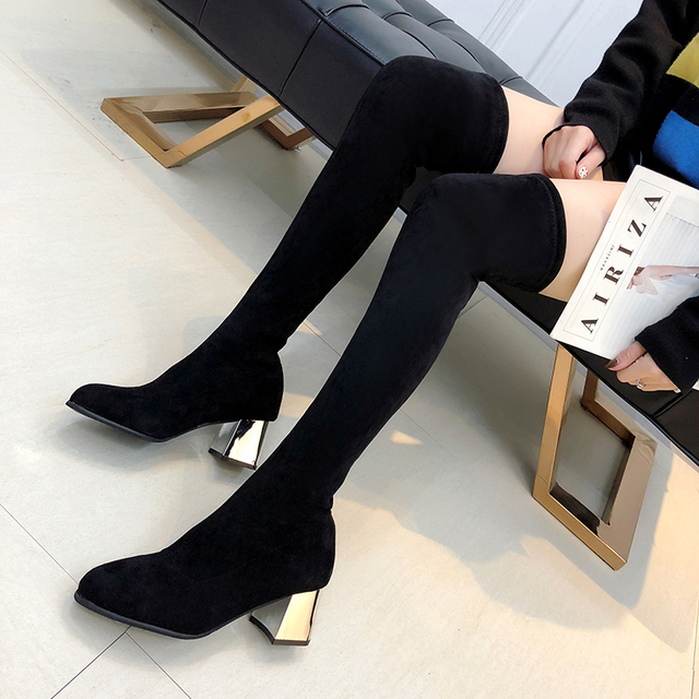 Size 35-43 Winter Over The Knee Boots Women Stretch Fabric Women Thigh High Sexy Woman Shoes Long Bota Feminina 5