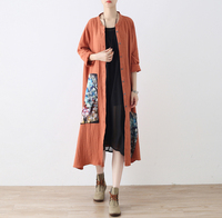 Women Cardigan Big Size Retro Print Dress Autumn New Women Long Cardigan Coat Loose Casual