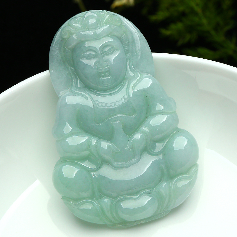 High Quality Carved Buddha Lucky Amulet Guanyin Pendant Necklace For Men Pendants Jewelry With Certificate wonderful handwork natural grade a green jadeite carved turtle crane lucky amulet pendant free necklace certificate jewelry