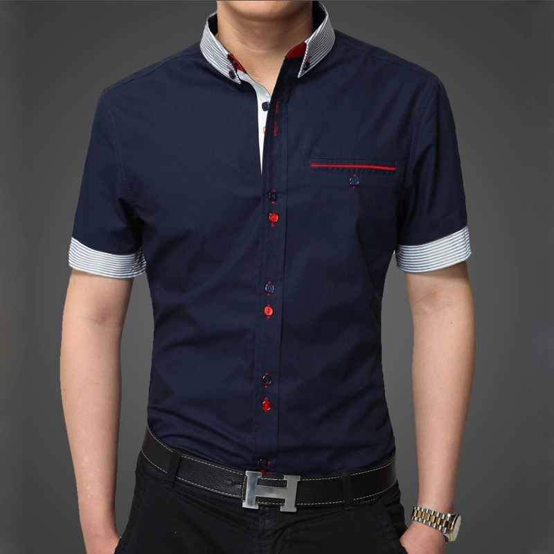 Camisa limited 2015 new summer fashion brand mens slim fit for Mens short sleve dress shirts