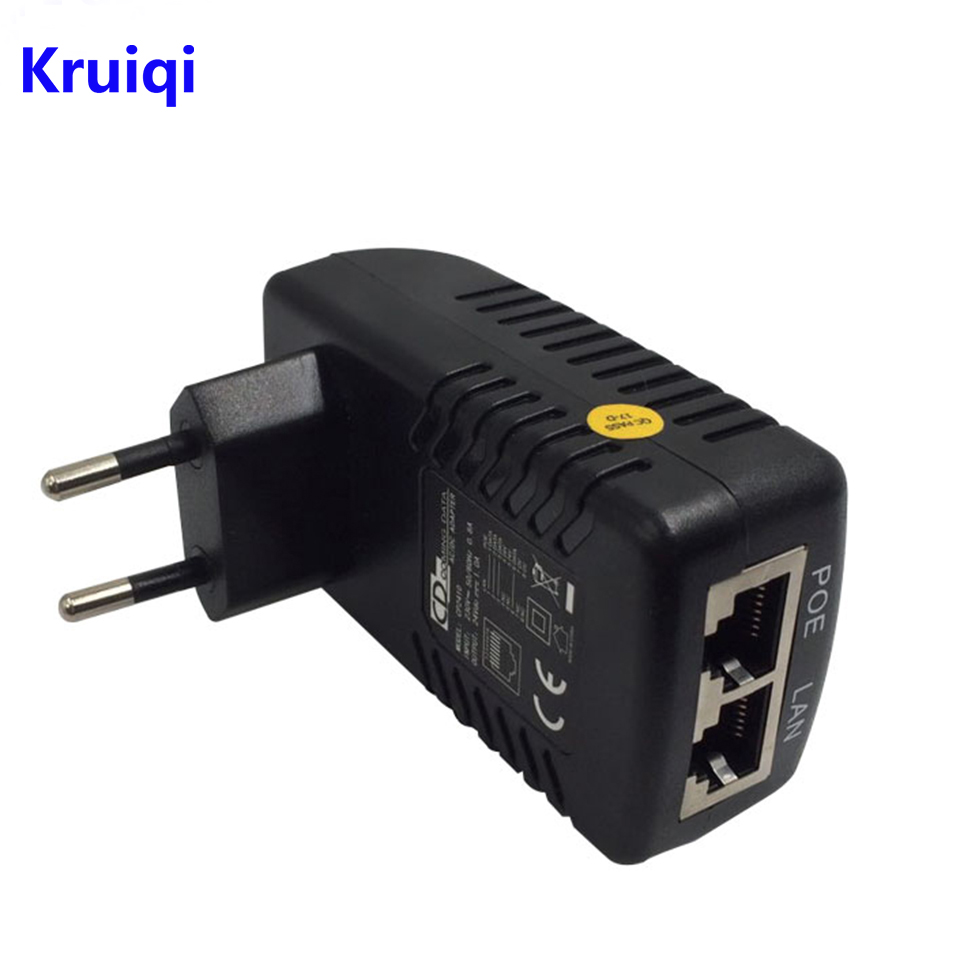 Kruiqi POE Injector Splitter 48V 0.5A POE Wall Plug Ethernet Adapter For Surveillance CCTV IP Camera PoE Power Supply US EU Plug