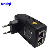 цена на Kruiqi POE Injector Splitter 48V 0.5A POE Wall Plug Ethernet Adapter for Surveillance CCTV IP Camera PoE Power Supply US EU Plug