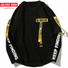 Aelfric Eden T-shirt Men 3d Printing Letter Ribbon Harajuku Cotton Long Sleeve Punk