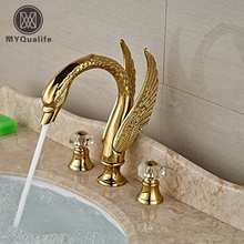 Luxury Swan Style Deck Mount Widespread Basin Faucet Two Handles Golden Washbasin Mixer Taps