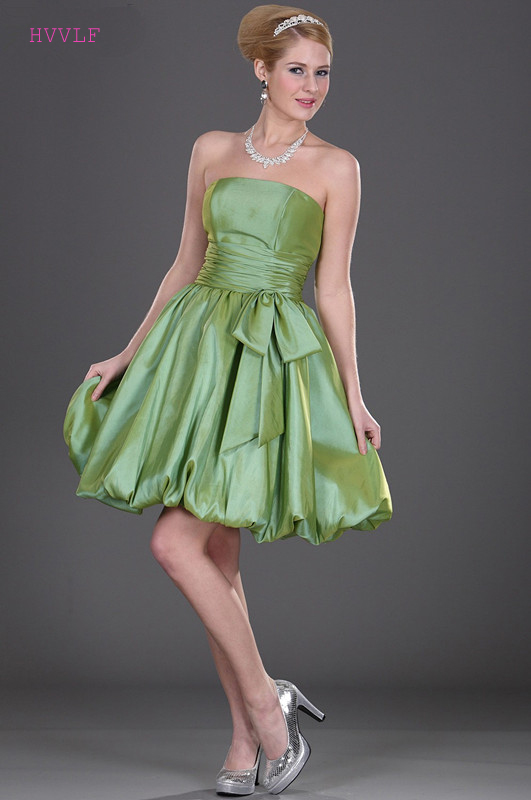 Green 2019 Cheap   Bridesmaid     Dresses   Under 50 A-line Strapless Knee Length Backless Short Wedding Party   Dresses