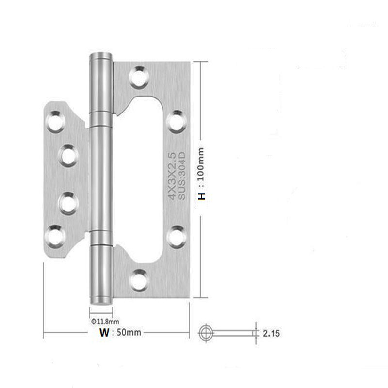 2Pcs 4x3 Thickness 2.5mm  Stainless Steel hinges Door Positive axis folding hinge Slotless solid wood door hinge2Pcs 4x3 Thickness 2.5mm  Stainless Steel hinges Door Positive axis folding hinge Slotless solid wood door hinge