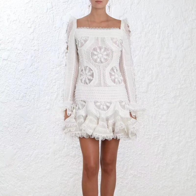 Для женщин высокое качество взлетно посадочной полосы платье Белый воланами манжеты шелковое белье органза салфетка мотивы мини платье с р