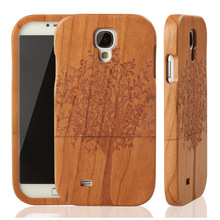 Nature Wood Bamboo Case Cover For Samsung Galaxy S S4 I9500 Cherry Wooden Covers Mobile Cell Phone Hard Cover Cases + Free Film