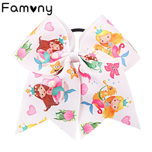 7 Jumbo Mermaid Printed Cheer Bow For Girls Kids Rainbow Hair Bows with Elastic Band Grosgrain Ribbon Accessories